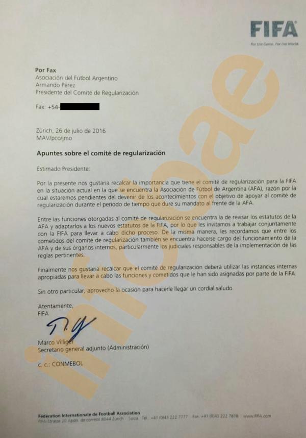 Carta de FIFA a Armado Perez